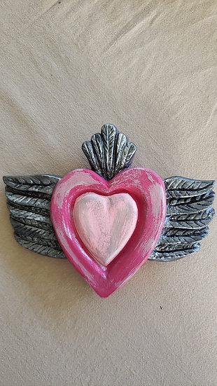 Corazón con Alas Rosado/Plateado