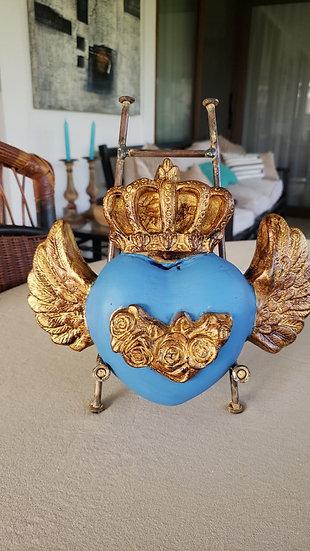 Corazón Atril Azulino/ Dorado