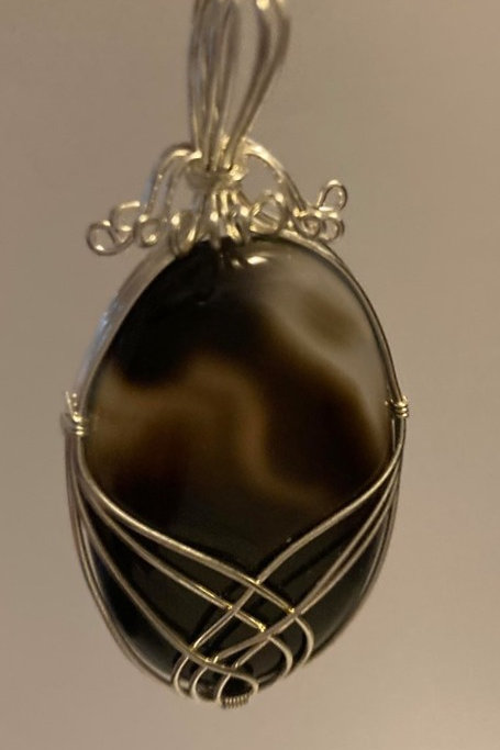 Banded Onyx Pendant Necklace