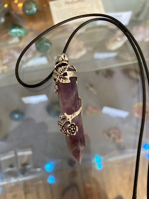 Wire Wrapped Amethyst/Black Cord
