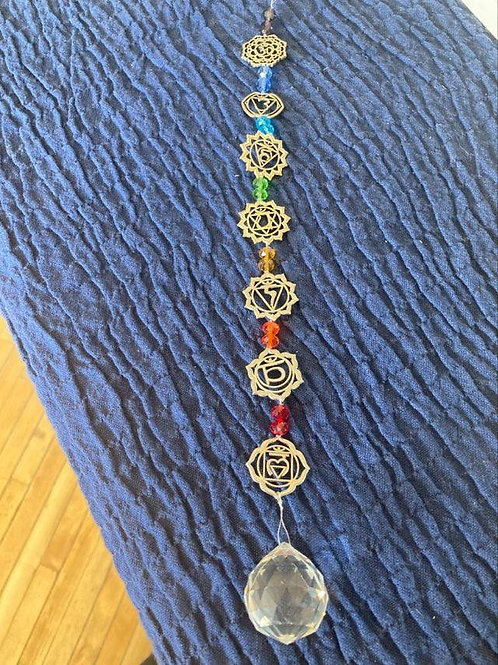 7 Chakra Hanging Crystal w/Glass Bead