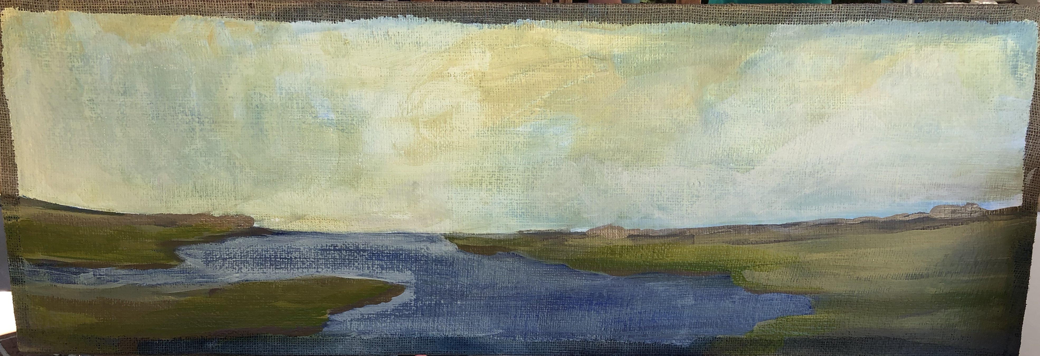 Marsh Dawn on Burlap I