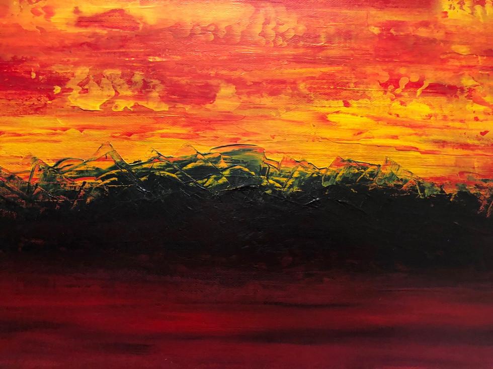 Magic sunset close up