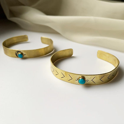 Turquoise + Brass Cuff