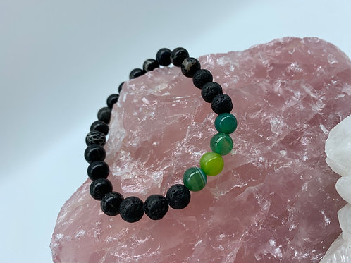 Lava & Green Banded Agate
