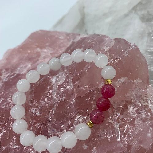 Strawberry Quartz & White Jade (S-M)