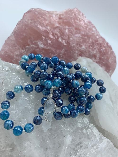 Silver coated blue agate