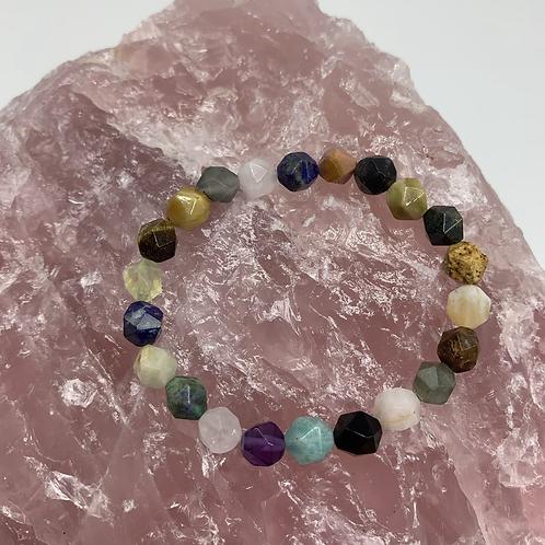 Faceted multi gemstone bracelet