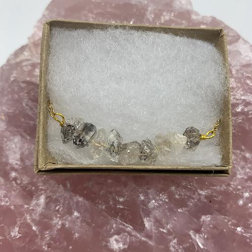 Herkimer curved bar necklace
