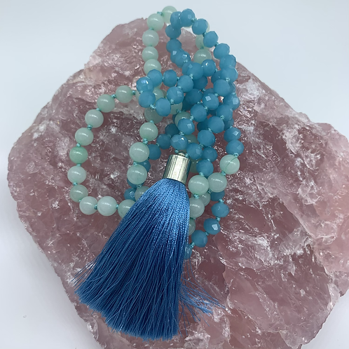 Light blue green Jade and blue crystal glass mala