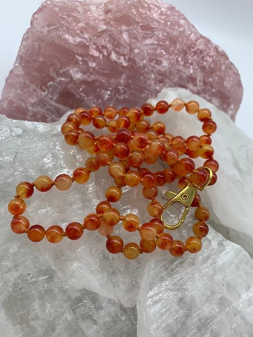 Orange/Yellow Jade keychain necklace