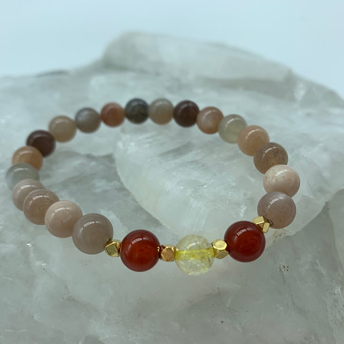 Peach Moonstone, Red Carnelian & Citrine