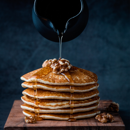 Honey Butter Syrup & Oatmeal Pancakes