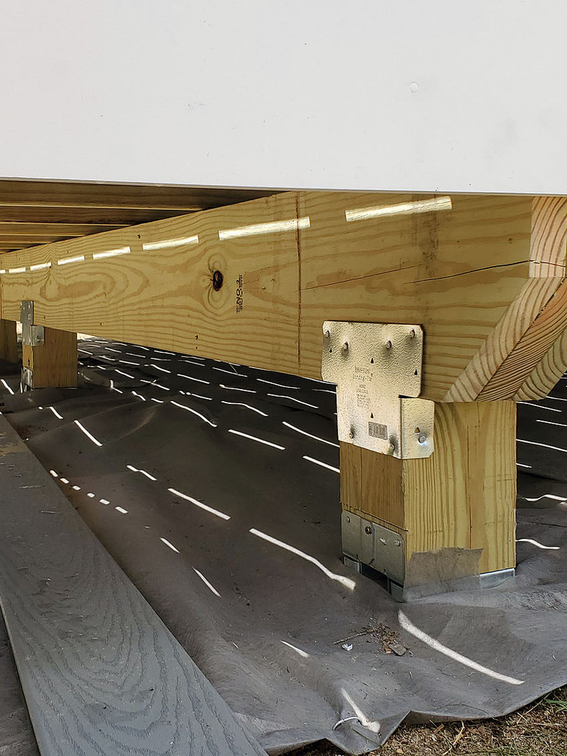 two-tier composite deck support beams