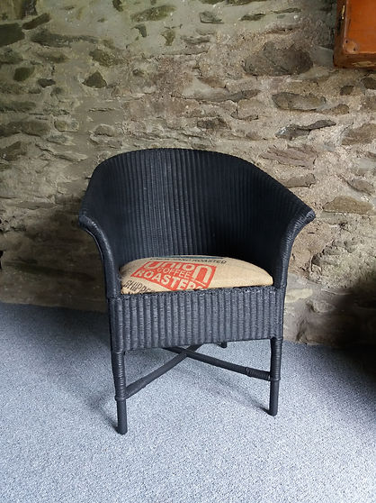 vintage refurbished wicker chair