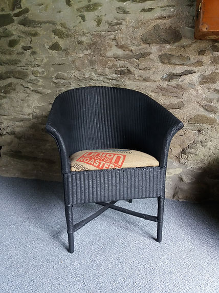 vintage refurbished wicker chair