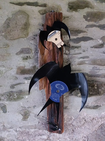 swallow wall art rustic upcycled records