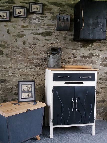refurbished vintage kitchen cabinet retro blanket box to original artwork sketches unique