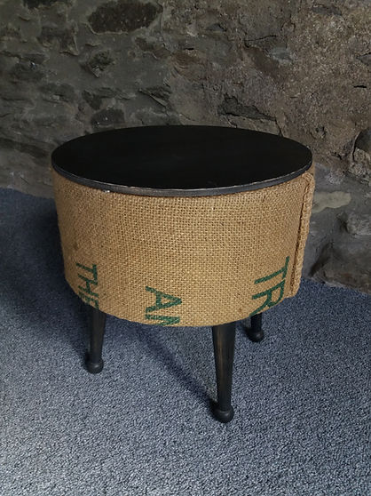 upcycled retro rustic sewing box reclaimed hessian sack