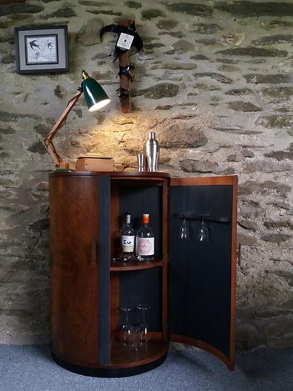 refurbished vintage drinks cabinet  original swallow artwork sketches coatstand unique