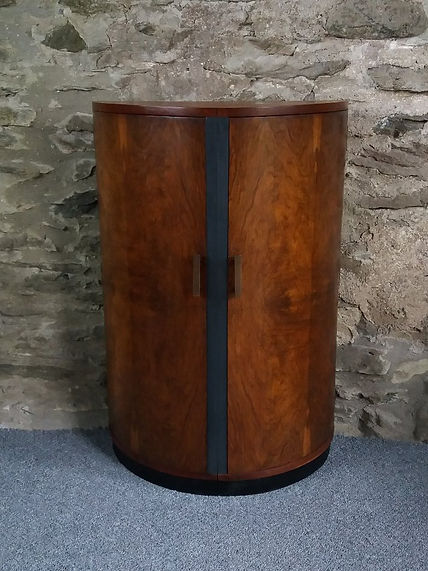 1930s  deco drinks cabinet refurbished swallow artwork