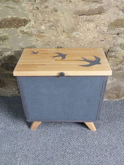 retro blanket box refurbished swallow artwork
