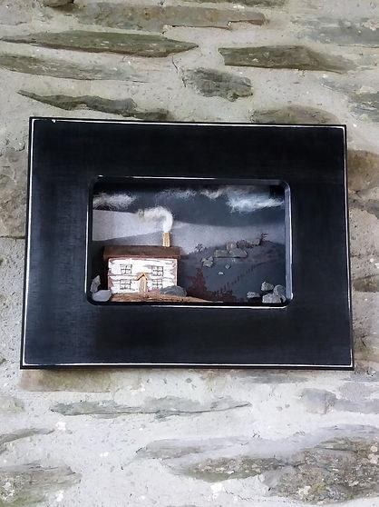 original collage artwork cottage house