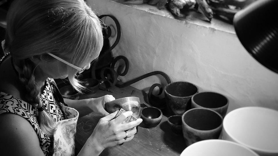 handmade sheep wool resin vase