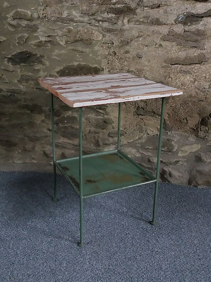 Vintage metal distressed side table reclaimed wood