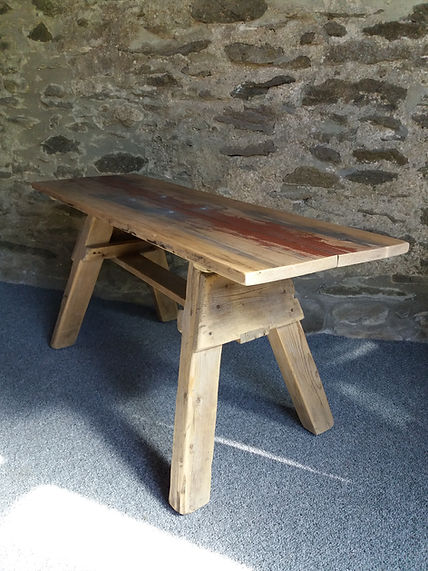 upcylced coffee table rustic trestle reclaimed wood