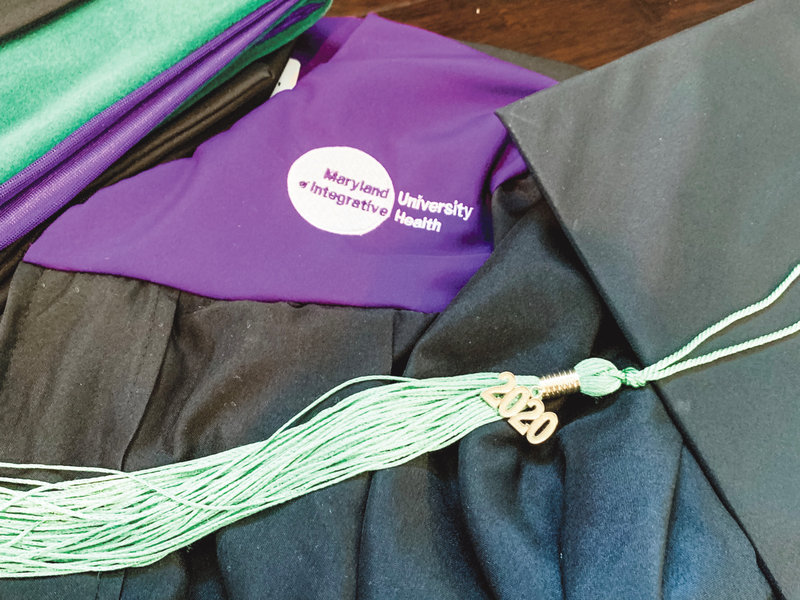 This is a picture of my cap and gown for completing my Ayurvedic Graduate Studies at The Maryland University of Integrative Health.