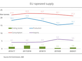 Increased rapeseed production in EU reduces import demand