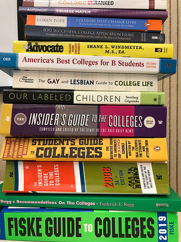 A picture of about 20 differenbooks stackd horizontally and each related to college life or college advising and selection.