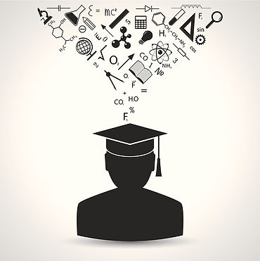 clipart image of a student with a student in a cap and gown with a tassle hanging from the right ride who has recently graduated from school. above the cap are images of beakers and books and compasses and chemicals and other science type images.