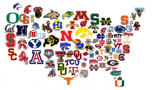Image of an invisble map of the United States in the backgound above the map in the foreground are icons representing the logos of several major colleges and universities superimposd over their approximate geographic locations in the country.