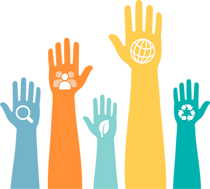 Image of five hands and forearms in 5 different colors each with a different symbol in the palm. One has a magnifying glass, one a leaf, one a globe and the other a recycling symbol.