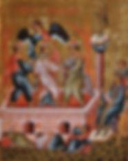 Les trois jeunes gens dans la fournaise (tablette de Sainte Sophie de Novgorod – fin du XVe/début du XVIe siècle)