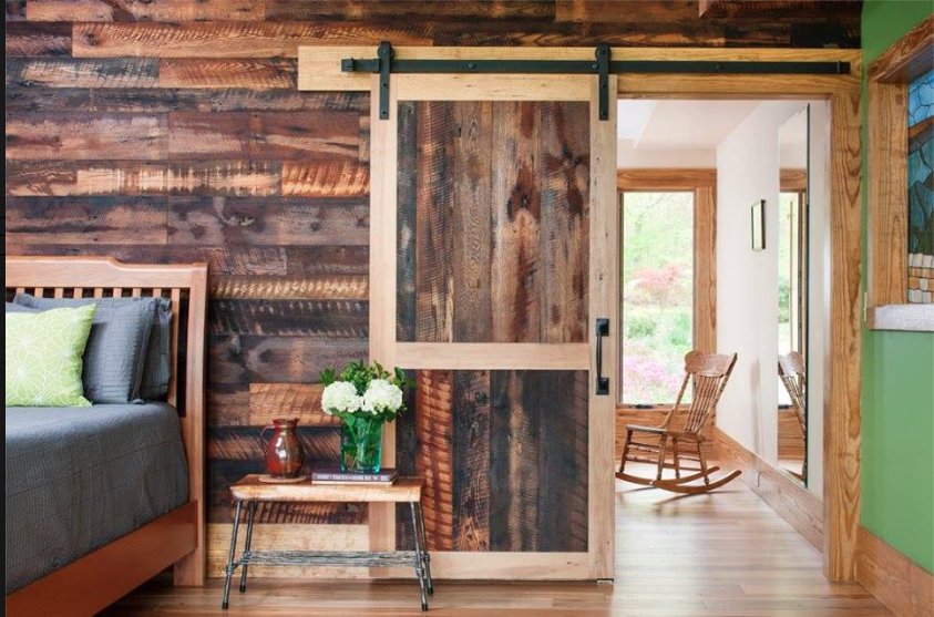 Rustic interior with barn door