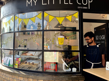 Window display illustrations for MyLittleCup in South Ealing
