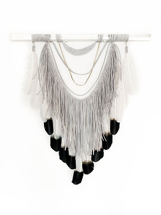 Drapey Fringe & Dip Dyed Feathers on Lucite