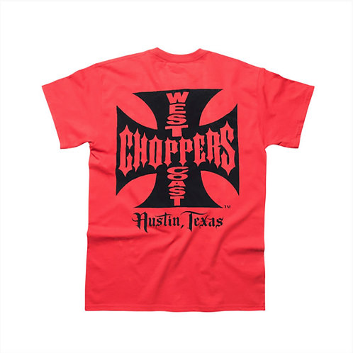TSHIRT WEST COAST CHOPPERS WCC MALTESE CROSS ATX RED