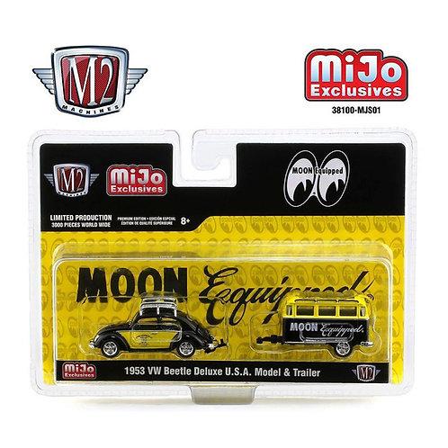 MOONEYES Mijo Exclusives M2 Machines 1953 VW Beetle Deluxe USA Model & Trailer
