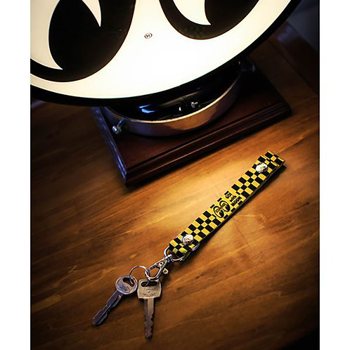 MOONEYES MOON Checker Key Hook KEY CHAIN KEY RING YELLOW