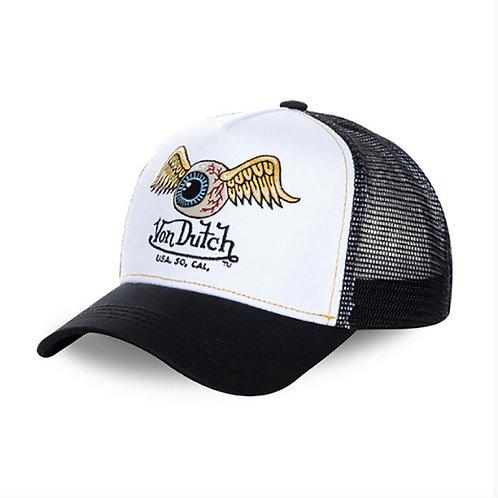 HAT VON DUTCH EYES BASEBALL CAP WHITE BLACK VONDUTCH TRUCKER