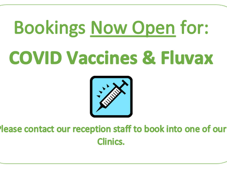 COVID Vaccines & Fluvax Bookings Now Open