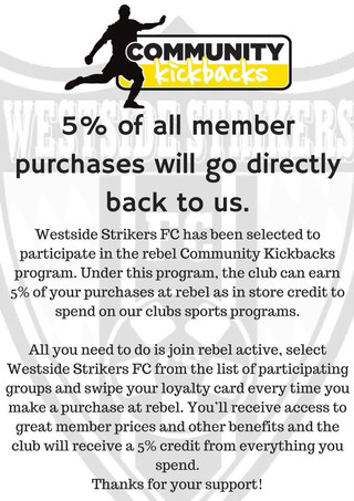 WESTSIDE STRIKERS/REBEL SPORT COMMUNITY KICKBACK