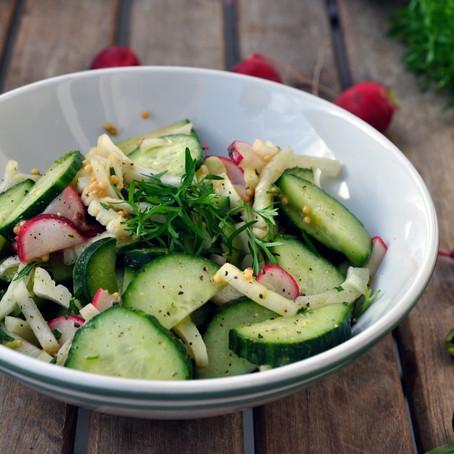 Rezeptidee: Lieblingsgurkensalat mit Fenchel, Radieschen und Senf-Curry-Dressing