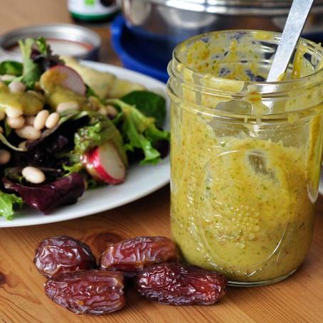 Bohnensalat mit Radieschen + Dattel-Senf-Rucola Dressing