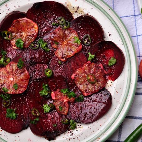 Carpaccio – mit Blutorangen, mariniert mit Granatapfel und Zitrus