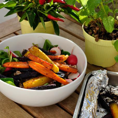 Salatidee: Warmer Möhrensalat mit Dinkel